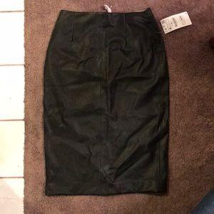 Leather skirt, knee length.